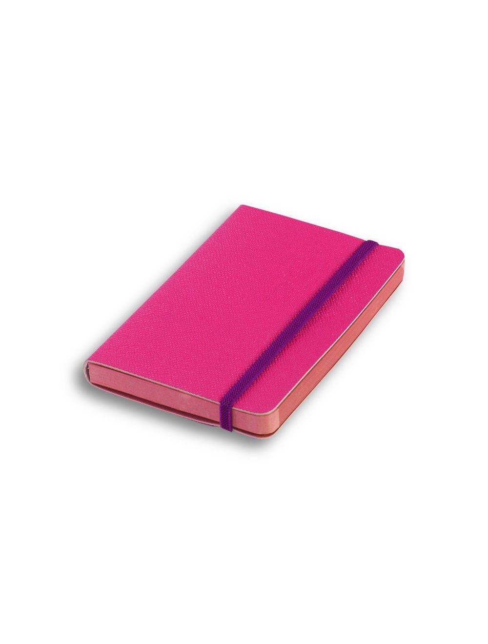 Elastic+ Journal 9 X 14 Cm - Coloured Internal Paper  - Hot Pink