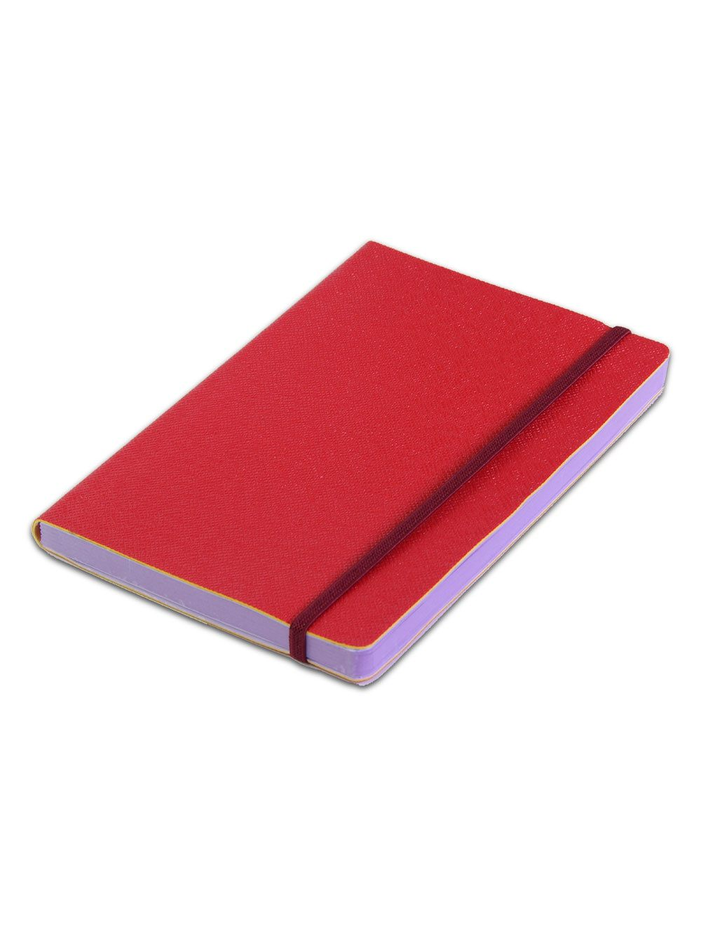 Journal Con Elastico 14,5 X 21 Cm - Coloured Internal Paper  - Cherry Red