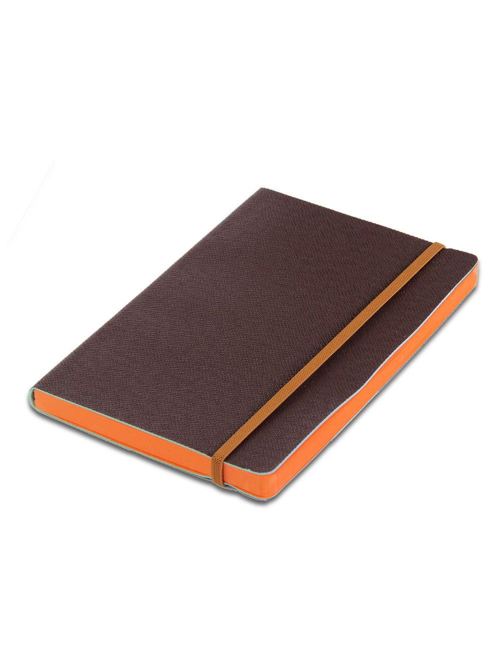 Journal Con Elastico 14,5 X 21 Cm - Coloured Internal Paper  - Brown
