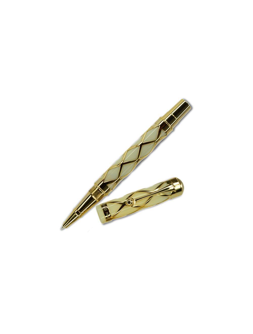 Bohemian Style Roller Pen - Gold White
